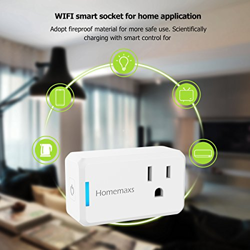 Wi-Fi Smart Plug, Mini Outlet HOMEMAXS Socket Compatible with Amazon Alexa  and Google Home Assistant IFTTT, No Hub Required, Compact and Easy To Use