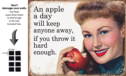 Shop72 - Tin Sign Humorous Sarcasm Funny Vintage Tin Signs One Apple A Day Will Keep Every One Away (An Apple A Day Keeps Everyone Away)