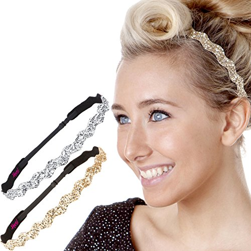 (Hipsy Women's Adjustable NON SLIP Wave Bling Glitter Headband Silver Duo Pack (Silver &)
