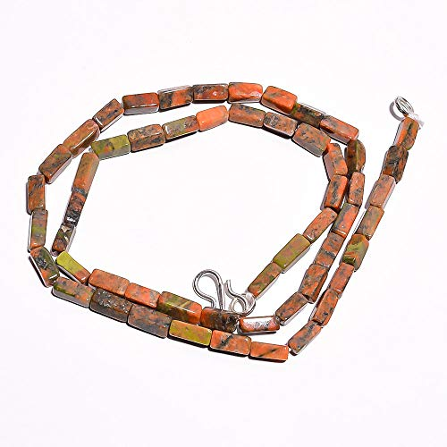 Beads Hub Natural Unakite Gemstone Square Tube Smooth Beads Necklace 18