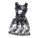 O Neck Sleeveless Vintage Floral Print Slim Mini High Waist Party Dress 1 L