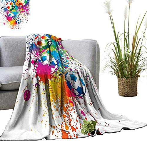 (YOYI Comfortable Blanket Splash All Over The Soccer Score World Cup Champi Ship Athletic ful Cozy Hypoallergenic 60