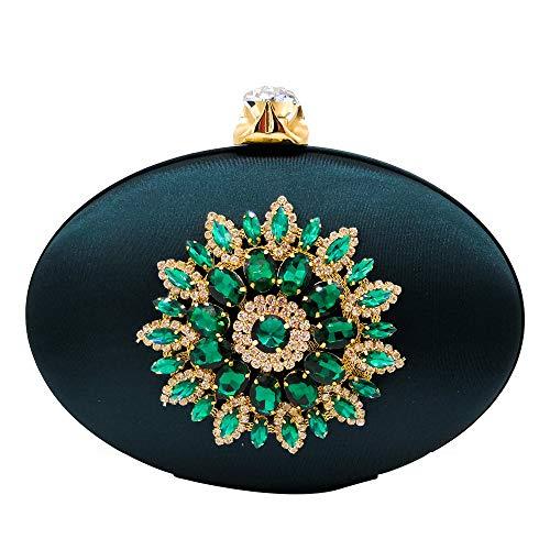 Green Womens Fashion Crystal Flower Clutch Evening Bags Diamond Party Dinner Chain Shoulder Handbag and Purse