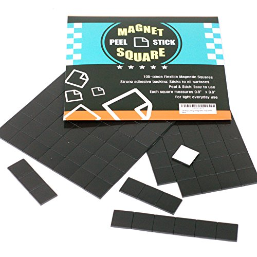 Just Stick - 105-Piece Flexible Magnetic Squares for Light Everyday Use; Strong Adhesive - Just Peel & Stick