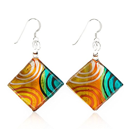 Sterling Silver Hand Painted Murano Glass Multi-Colored Art Circles Square Dangle Earrings 2""