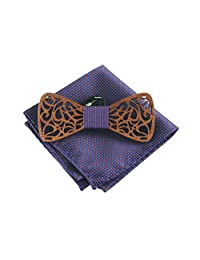 Amzchoice Handmade Mens Wood Bow Tie Rosewood Bowtie with Matching Pocket Square Sets