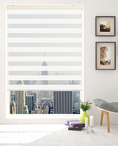 Springblinds Premium Zebra Corded Roller Shade - Modern Fabric with Cassette -Custom Made in U.S.A. -
