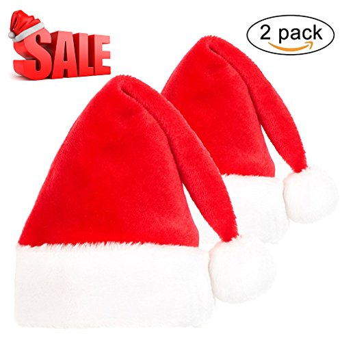 Mannice Plush Santa Hat for Adults Kids Thick and Warm Christmas Costume Hat for Medium Head,2 Pack Adult Plush Santa Hat