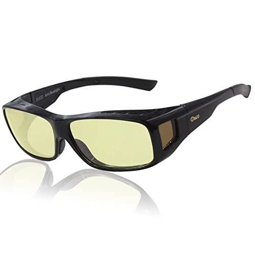 Duco Optiks Ergonomic Advanced Computer Gaming Wear Over Prescription Glasses Anti Blue Light Wraparound Eyewear 8954L