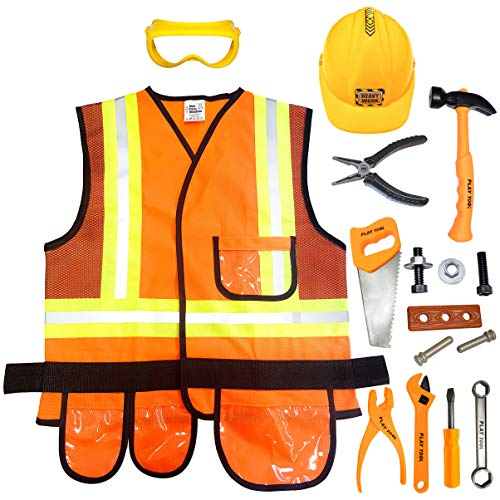 Kids Party Kingdom Kids Construction Worker Costume with Hard Hat & Toys Tool Set - Real Vest Dress Costumes for Toddler, Boys & Girls 4 to 7 Year Old - Play Clothes for Kid Builder