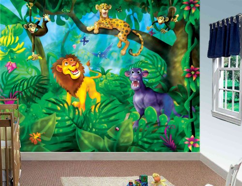 10.5-Feet wide by 8-Feet high. Prepasted robust wallpaper mural from a photo of a:A jungle with animals. Original artwork by Birgit Schulz.Our murals are easy to install remove and reuse. See video. by Muralunique (Image #1)