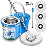 New Upgraded Stainless Steel Deluxe Microfiber 360 Spin Mop & Bucket Floor Cleaning System Included EasyPress Handle with 3 Microfiber Mop Heads