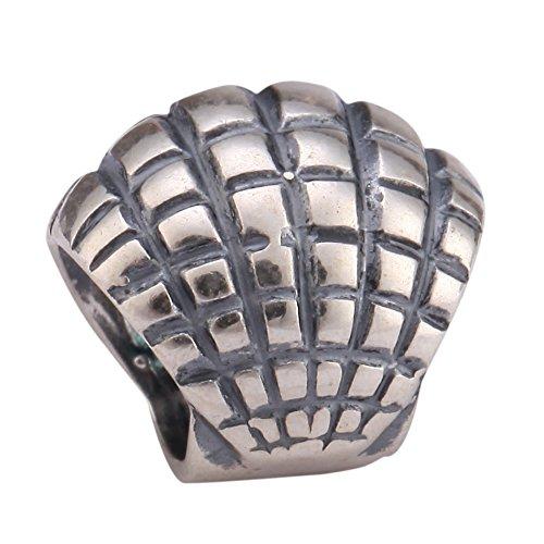Sterling Silver Charm Sea Shell Bead Ocean Lover Charm fits All Charm Bracelets #EC224