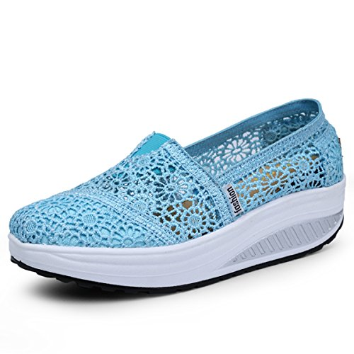 Sacudir Zapatillas A hellblau Deporte Zapatos Running Mujer Sneaker de Zapatilla Malla Deporte Plataforma Height Zapatos Andar Casual de increasing qTvAxwnPqR