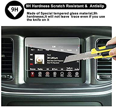 6.5-Inch RUIYA HD Clear Tempered Glass Car in-Dash Screen Protective Film Dodge Challenger Uconnect Touch Screen Car Display Navigation Screen Protector
