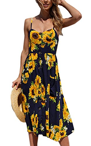 Angashion Women's Dresses-Summer Floral Bohemian Spaghetti Strap Button Down Swing Midi Dress with Pockets Navy Blue L