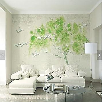 Wongxl Aquarelle Oiseaux Arbres Papier Peint Vert Verdure Fraiche