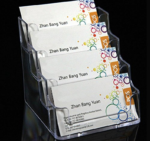 Acrylic Name Card Display Stand Business Card Holder 4 Layer Clear ishop PM-03