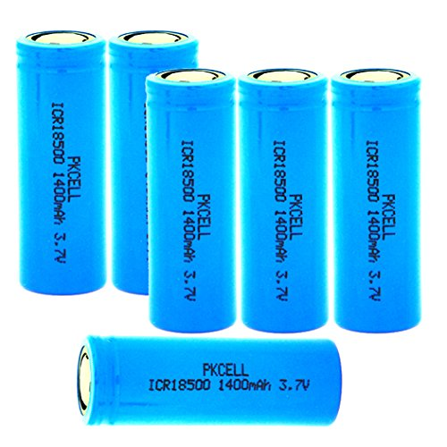 1400mah Rechargeable Li Ion Battery - 3.7V 1400mah ICR18500 Li-Ion Rechargeable Batteries with Flat Top(Blue) (6PC)
