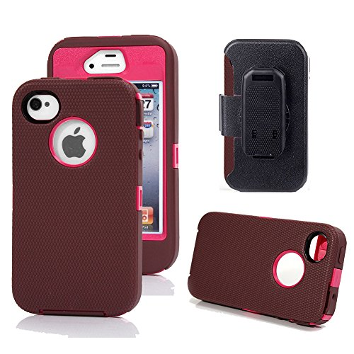 iPhone 4s Case, Harsel Defender Series Heavy Duty Tough Rugged High Impact Armor Hybrid Military with Belt Clip Built-in Screen Protector Case Cover for Apple iPhone 4s /4g - Plum Rose