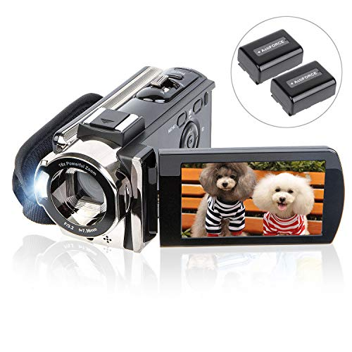 Video Camera Camcorder Digital YouTube Vlogging Camera Recorder kicteck Full HD 1080P 15FPS 24MP 3.0 Inch 270 Degree Rotation LCD 16X Digital Zoom Camcorder with 2 ()