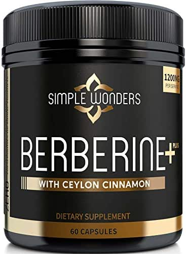 Berberine 1200mg HCL Plus Ceylon Cinnamon Capsules - Blood Sugar & Immune Support Supplements, AMPK Metabolic Activator Complex, Glucose Metabolism, Cardiovascular & Insulin Support - Made in USA