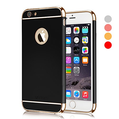 Iphone Case Gold - iPhone 6 Case, Vansin 3 In 1 Ultra Thin and Slim Hard Case Coated Non Slip Matte Surface with Electroplate Frame for Apple iPhone 6 (4.7'')(2014) and iPhone 6S (4.7'')(2015) -- Black & Gold