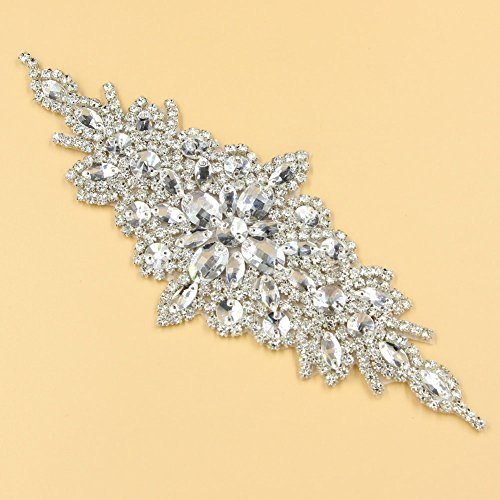 1 Pc Gleaming Wedding Applique Crystal Rhinestone Trim Ribbon Sash /Bridal Applique (Beaded Make Fringe)