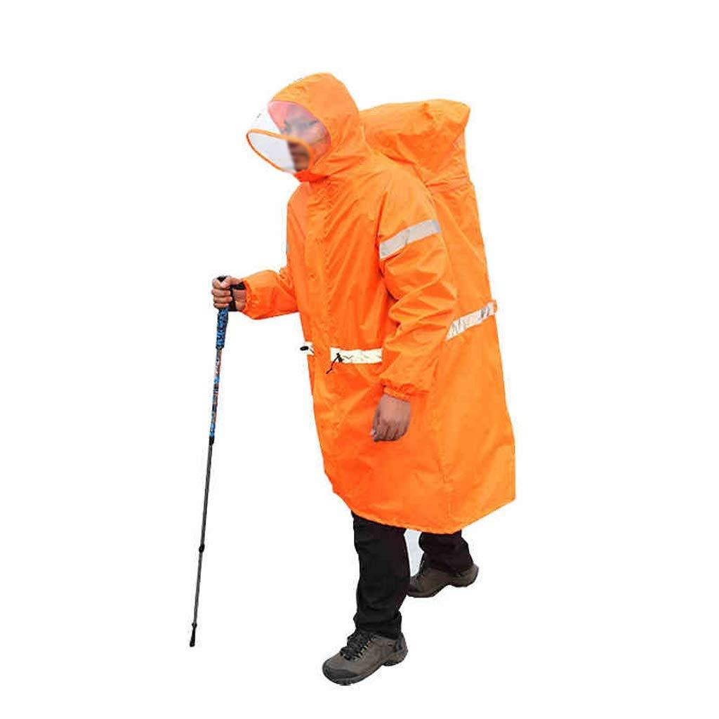 Haodan electronics-Regenjacken Outdoor Camping Tragbare Männer und Frauen Rucksack Regenmantel Recycelbar Tragen eines Poncho mit Langen Ärmeln (Color : Orange, Größe : L)