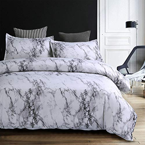 (Leoie 3pcs/Set Fashion Modern Marble Printed Bedding Set Concise Style Duvet Cover Set Stone Pattern - Gray Dimensions:260230)