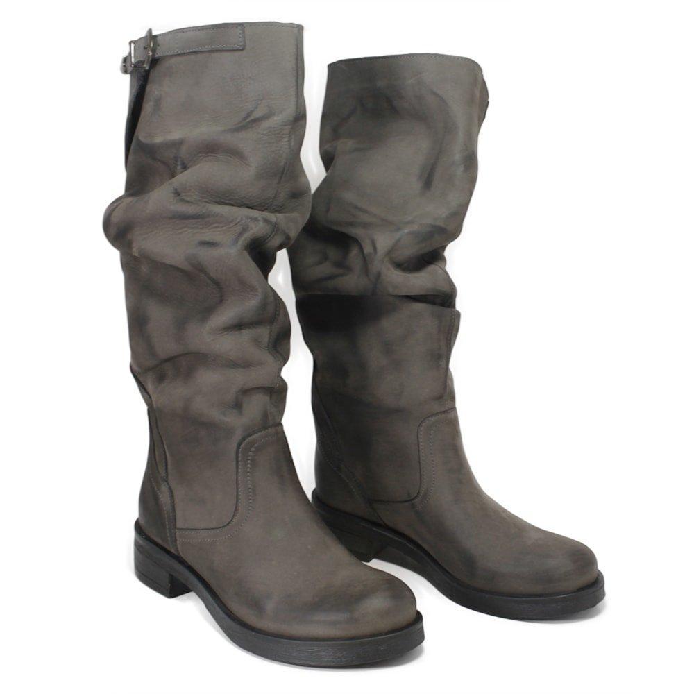 In Time Stivali Biker Boots Alti Donna 0289 Grigio