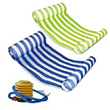 Mioshor 2 Pack Premium Water Hammock, Multi-Function Swimming Pool Floating Hammock Lounger Inflatable Raft with Air Pump (Green and Blue)