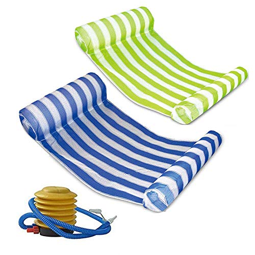 Mioshor 2 Pack Premium Water Hammock, Multi-Function Swimming Pool Floating Hammock Lounger Inflatable Raft with Air Pump (Green and Blue) (Loungers Pool Swimming)