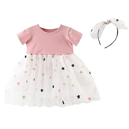 e4793f7f8cad0 Amazon.com: MOVEmen Baby Kids Girls Stars Tulle Patchwork Princess Dresses+Hairband  Outfits Ruffle Casual Pleated Skirt Beach Dresses: Clothing