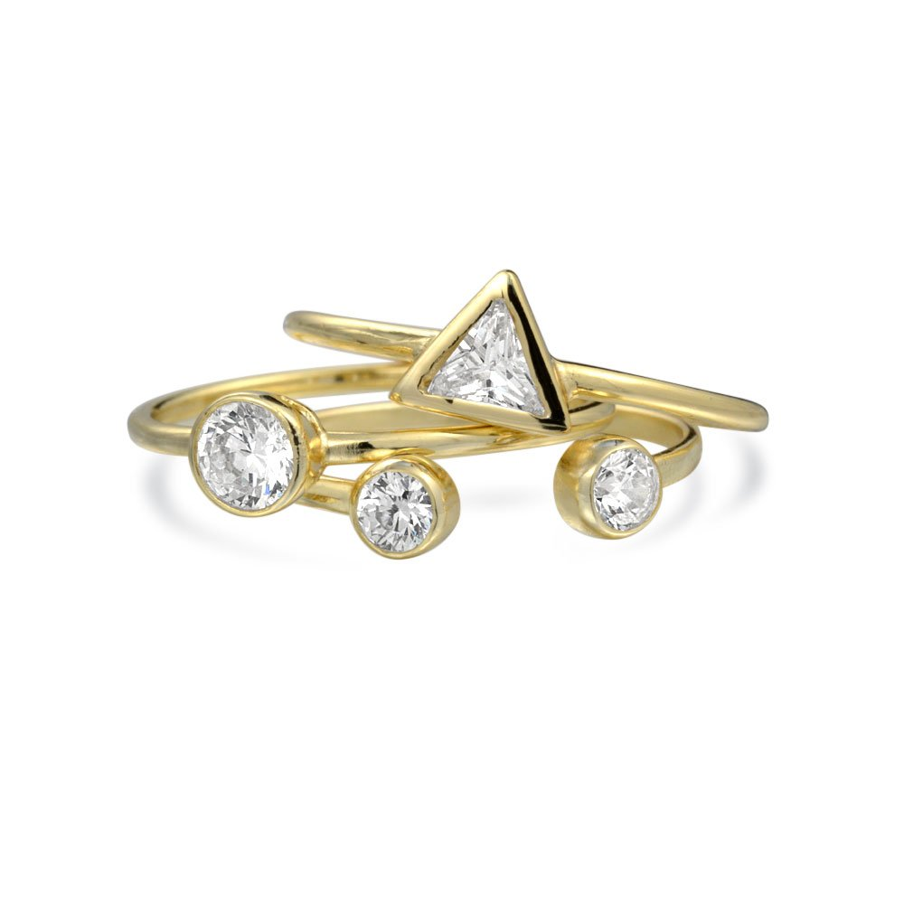 Bling Jewelry Silver Modern CZ Shapes Stacking Midi Ring Set Gold Plated PFS-GEOCZ-G-SET