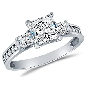 Solid 925 Sterling Silver CZ Cubic Zirconia 3 Three Stone Engagement Ring – Princess Cut Solitaire with Round Side…