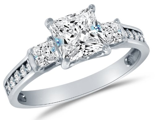 Size 8.5 - Solid 14k White Gold CZ Cubic Zirconia 3 Three Stone Engagement Ring - Princess Cut Solitaire with Round Side Stones (1.75cttw, 1.5ct. Center)