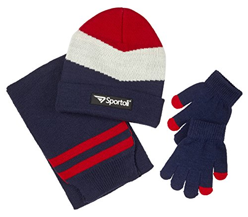 Sportoli Boys' Kids Knit Cold Weather Accessory Set Warm Hat, Scarf and Gloves (Navy Chevron),Boys One Size / 8-20