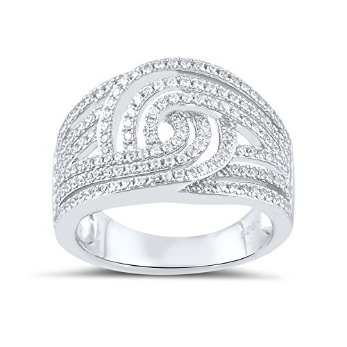 Sterling Silver Cz Swirl Statement Ring Size 5-9