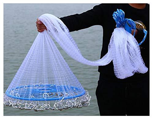 (Fishing Cast Net,American Hand Throw Fish Nets Casting Sinker Net Bait Trap Catch Shrimp Crab Mesh,Suitable for Saltwater Freshwater,Heavy Duty,4.5ft (1.35m)-8.8ft (2.7m) Radius,3/8 inch(1cm) Mesh)