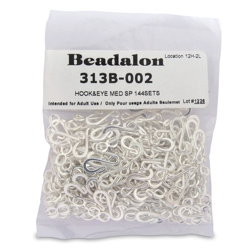Beadalon Medium Hook and Eye Clasps, Silver Plate, Set of 144 (Hook Clasp)