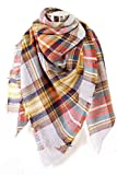 Plum Feathers Premium Plaid Pattern Knit Large Blanket Scarf with Fringes (Grey-Orange Big Plaid)