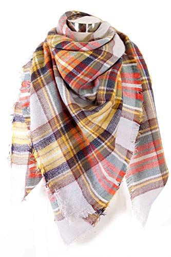 Plum Feathers Premium Plaid Pattern Knit Large Blanket Scarf with Fringes (Grey-Orange Big Plaid) ()