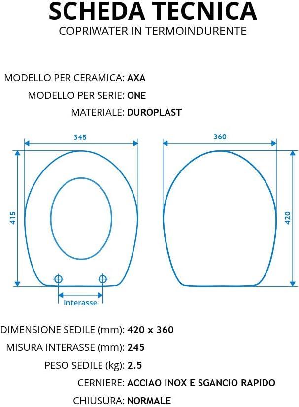 Copriwater per AXA ONE come ORIGINALE TERMOINDURENTE BIANCO cerniera inox normale Cerniera//Chiusura Normale
