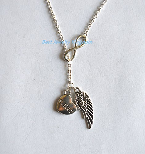 (Sister Angel, Infinity Guardian Angel Wing, Sister In Heaven Memory Y Lariat Sympathy Gift Necklace best gift Pendant Necklace,Simple Necklace, Everyday Jewelry,charm necklace)
