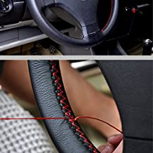 FLY5D® Universal DIY Leather Car Auto Black Steering Wheel Cover Non-Slip 38cm (Black A)