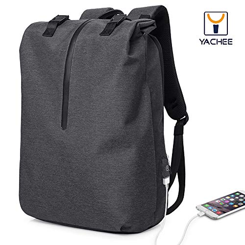 Yachee Anti-theft Laptop Backpack, Outdoor 30L Lightweight RollTop Design Waterproof Multipurpose Large Rucksack with USB Charging Port Fits up to 17 inch Computer for Weekender Travel Business