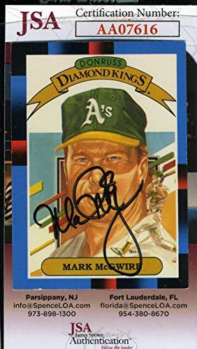 (MARK MCGWIRE JSA Coa Hand Signed 1988 Donruss Diamond Kings Autograph)