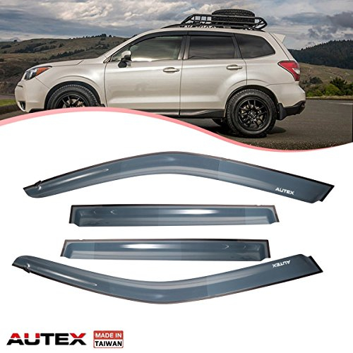AUTEX 4 Pcs Tape On Window Visor Compatible with Subaru Forester 2009 2010 2011 2012 2013 Window Deflector Visor Sun Rain Shade Wind Guard Made in - Subaru Deflectors Wind