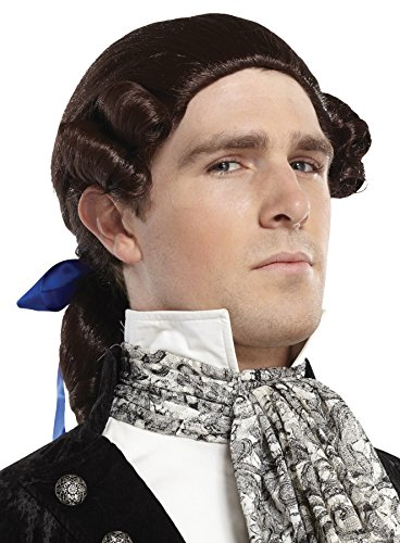 [UHC Ponytail Bow Wig Colonial George Washington Hair Halloween Costume Accessory (Auburn)] (Colonial Brown Wig)